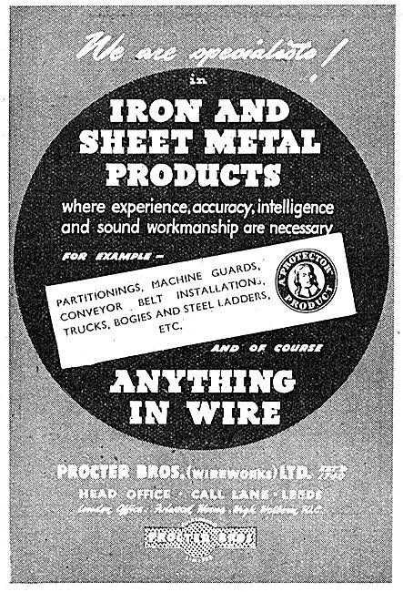 Procter Bros Iron & Sheet Metal Products 1943 Advert