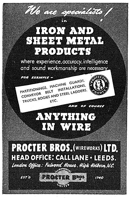Procter Brothers. Leeds. Wireworkers, Ironworkers & Sheet Metal