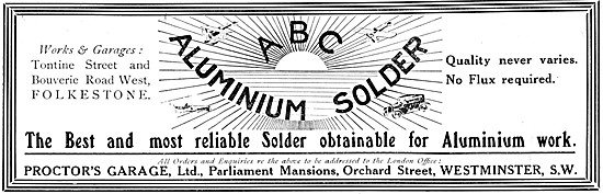 Preoctors Garage. ABC Aluminium Solder 1915