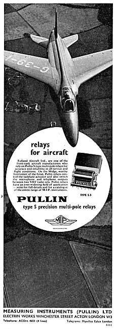 Pullin Type S Precision Multi-Pole Relays For Folland  Aircraft
