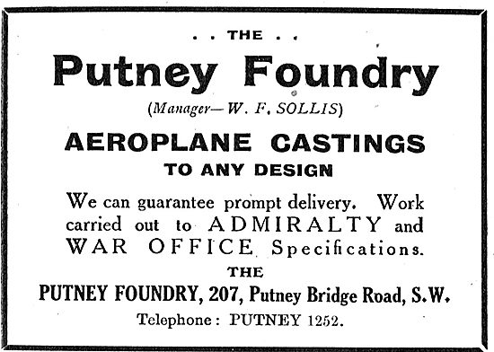The Putney Foundry For Aeroplane Castings. Manager W.F.Sollis