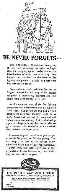Pyrene Fire Fighting Equipment 1942 Advert