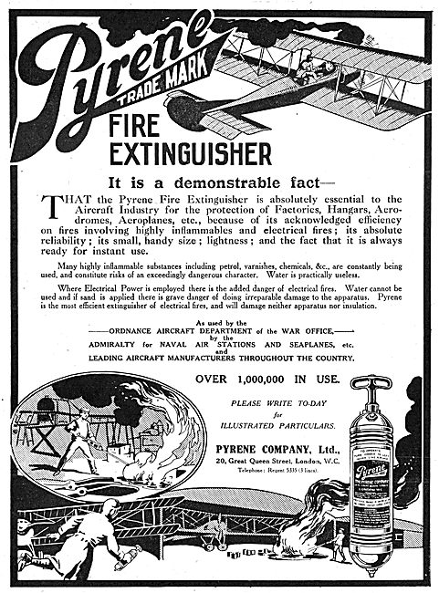Pyrene Fire Extinguishers For Hangars & Aeroplanes 1916