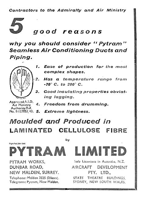 Pytram Laminated Cellulose Fibre Mouldings For Aircraft