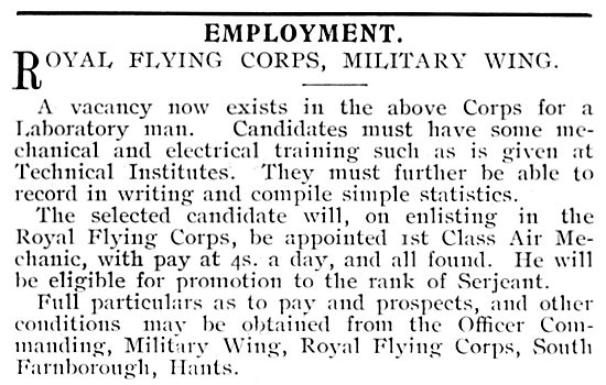 RAF Recruitment : R.F.C. Royal Flying Corps