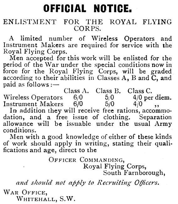 RAF Recruitment : RFC Recruitment. Royal Flying Corps