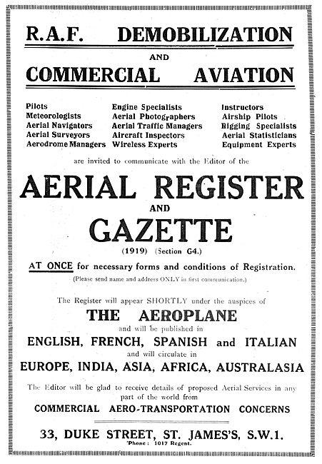 RAF Recruitment : Demobilization & Commercial Aviation. Register
