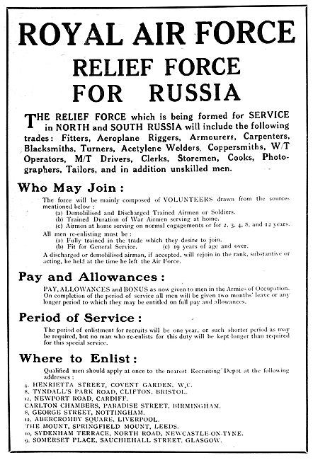 RAF Recruitment : Relief Force For North & South Russia