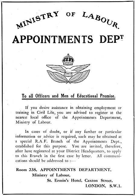 RAF Recruitment 1919-  Demobbed Officers. Ministry Of Labour