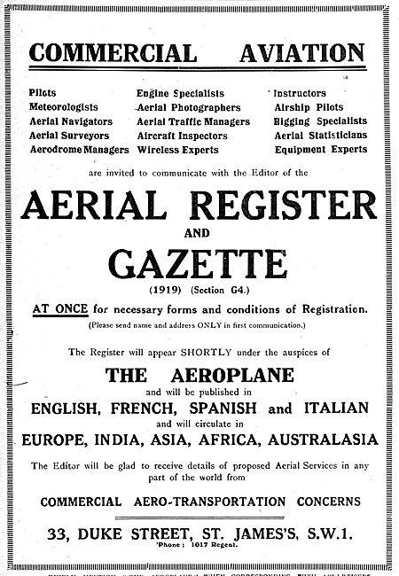 RAF Recruitment. Aerial Register & Gazette (1919 Section G4)