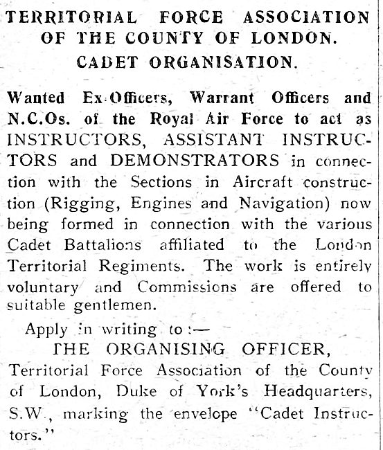 RAF Recruitment. Territorial Force Association All Ranks 1919