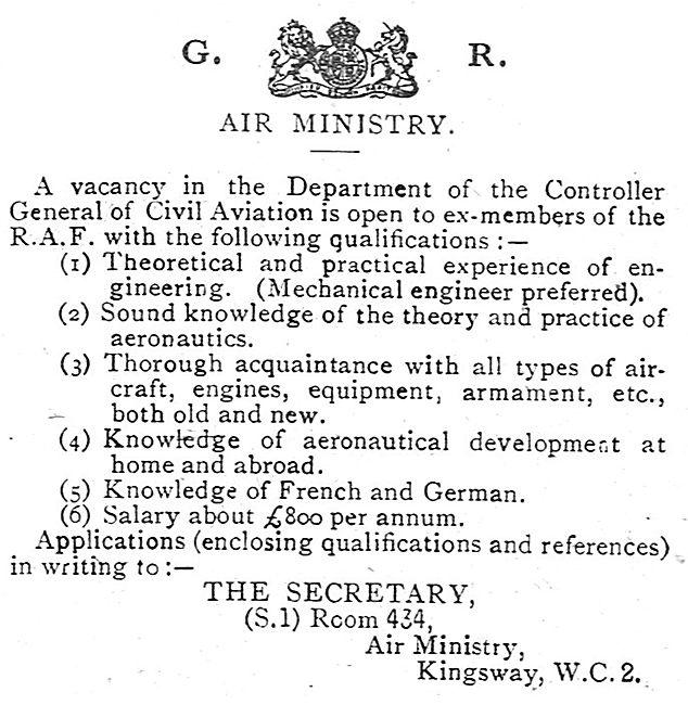 RAF Recruitment: Department  Controller General Of Civil Aviation
