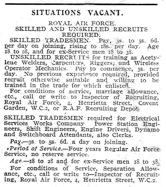 RAF Recruitment: - Skilled & Unskilled Recruits