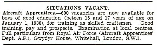 RAF Recruitment: Vacancies For 600 Aircraft Apprentices