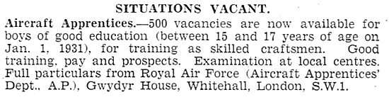 RAF Recruitment: - 500 Aircraft Apprentice Vacancies