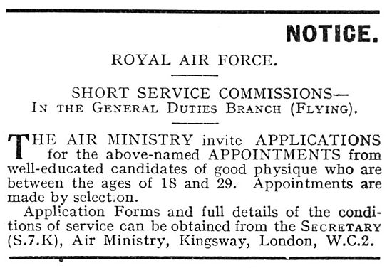 RAF Recruitment Short Service Commissions 1930