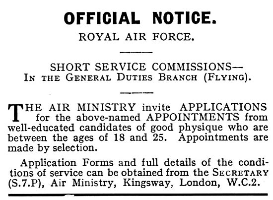 RAF Recruitment 1931
