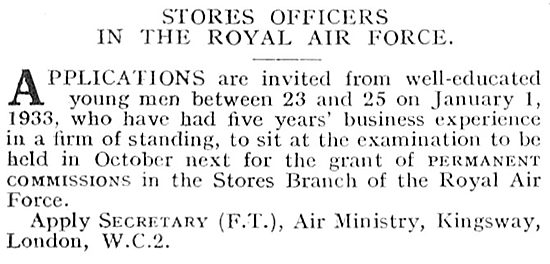 RAF Recruitment:- Stores Officers Permanent Commissions