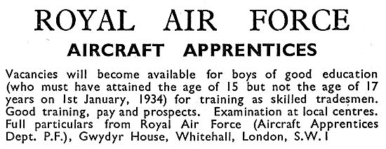 RAF Recruitment Aircraft Apprentices 1933