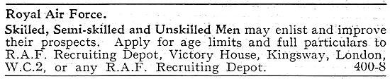 RAF Recruitment - Skilled, Semi Skilled & Unskilled Men