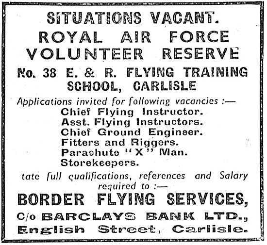 RAF Recruitment. RAFVR No 38 Flying Training School Carlisle 1939