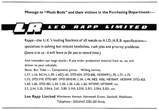 Leo Rapp - Metal Suppliers To The Aircraft Industry