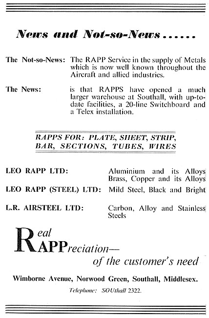 Leo Rapp Metal Suppliers To The Aircraft Industry