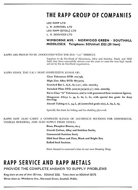 Leo Rapp - Aluminium & Steel Suppliers To The Aircraft Industry