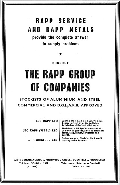 Rapp Metals. Metals Suppliers To The Aircraft Industry