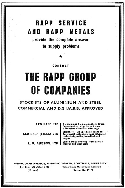 The Rapp Group Of Companies - Metals For The Aircraft Industry