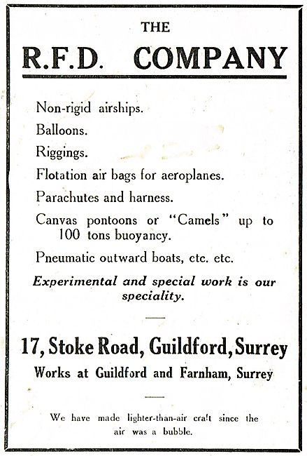 The RFD Company. Non Rigid Airships - Balloons - Riggings Etc