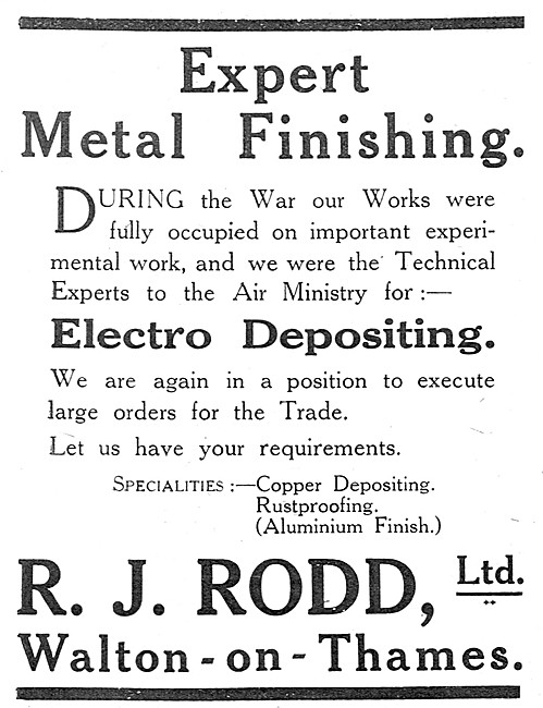 R.J.Rodd . Walton-On-Thames.  Electroplaters & Metal Finishers.