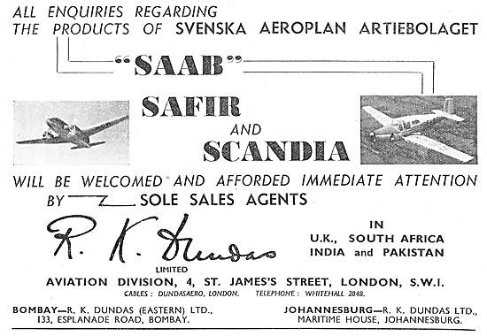 R.K.Dundas Aircraft Sales - SAAB Safir SAAB Scandia 1948