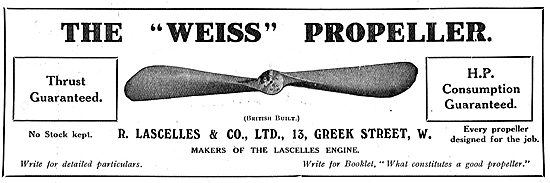 You May Obtain Weiss Propellers From R Lascelles & Co