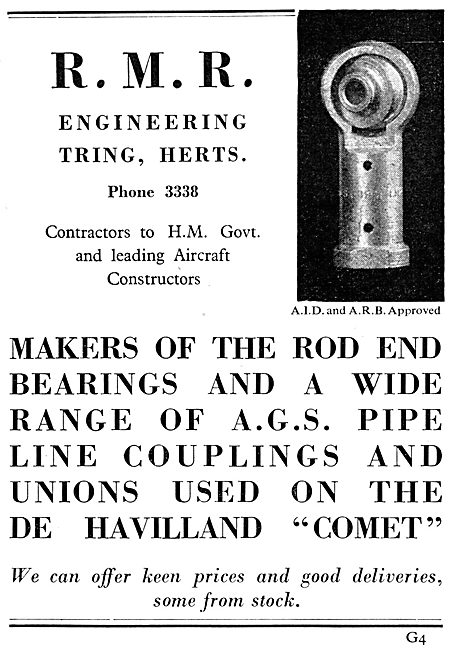 R.M.R. Engineering. Tring. Rod End Bearings & AGS Parts