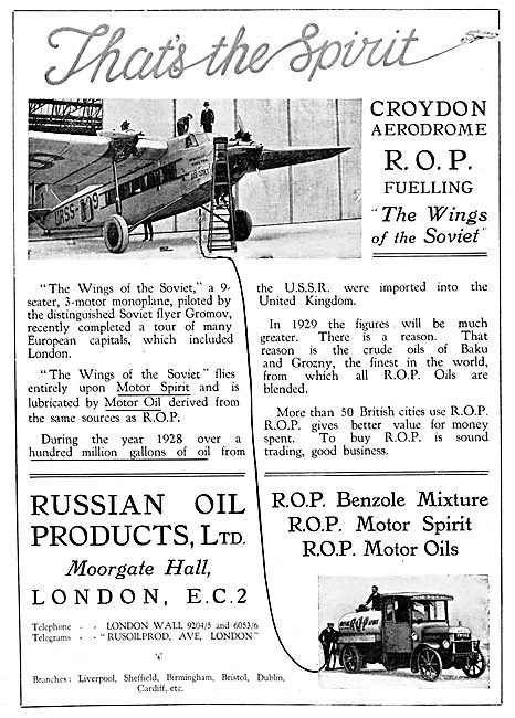 Russian Oil Products - ROP Aviation Fuel 1929