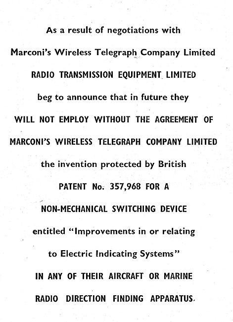 Radio Transmission Equipment - RTE/Marconi  Announcement