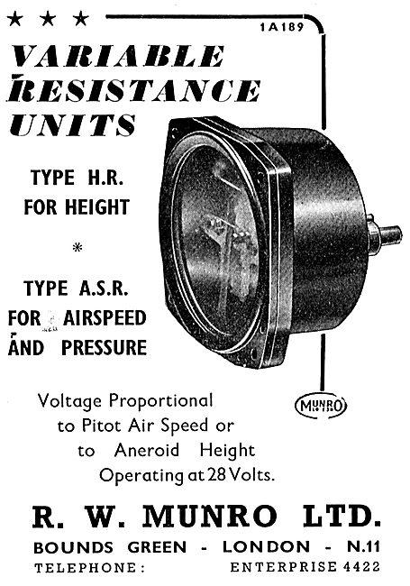 R.W. Munro Variable Resistance Units Test Equipment