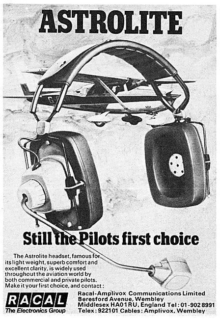 Racal Amplivox Astrolite Headsets 1974