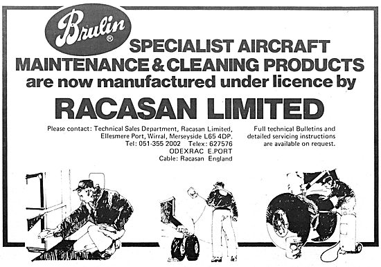Racasan Specialist Aircraft Cleaning Materials. Brulin.