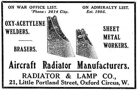 Radiator & Lamp Co - Aircraft Radiators & Sheet Metal Work