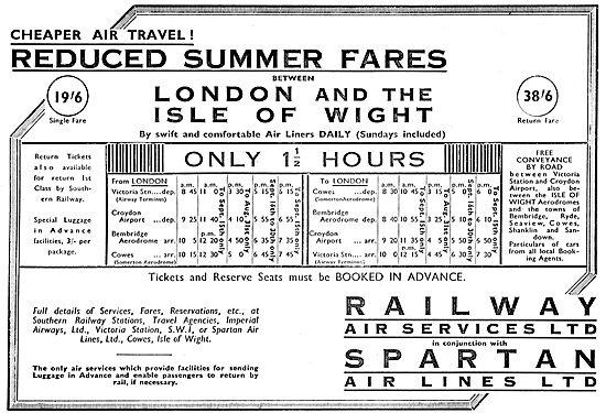 Railway Air Services. London IOW Reduced Summer Fares
