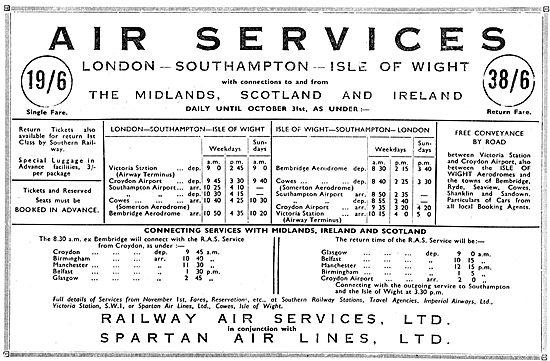 Railway Air Services Summer Routes 1934