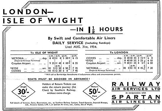 Railway Air Services. Spartan. London-IOW Time Table & Fares