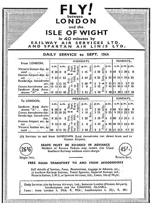 Railway Air Services - Spartan Air Lines: London-IOW Time Table