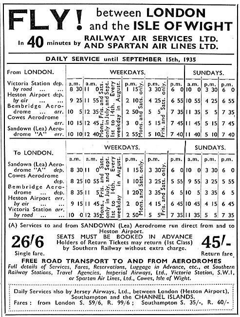 Railway Air Services - Spartan Air Lines: London-IOW Time Table