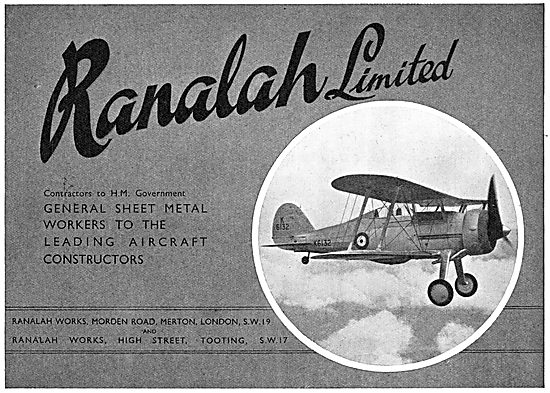 Ranalah Sheet Metal Workers To The Aircraft Industry 1939