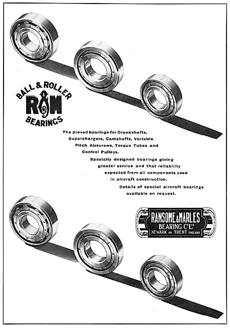 Ransome & Marles Ball & Roller Bearings For Aircraft