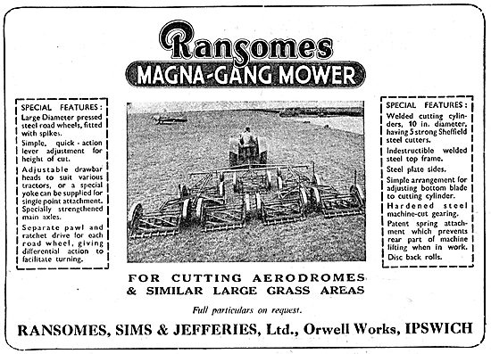 Ransomes Gang Mowers For Airfields - Magna-Gang Mower 1950