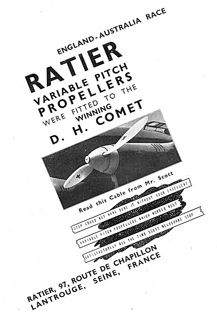 Ratier Variable Pitch Propellers Fitted To Winning DH Comet